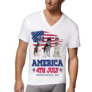 American Flag 4th July Independence Day Siberian Husky shirt