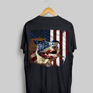 American Flag Pitbull Dog colors shirt