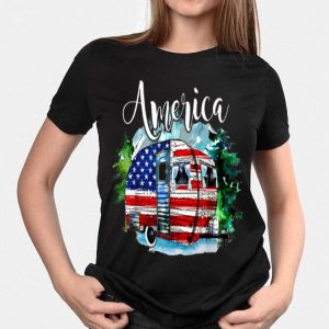 Camping Independence day 4th of July America Flag shirt