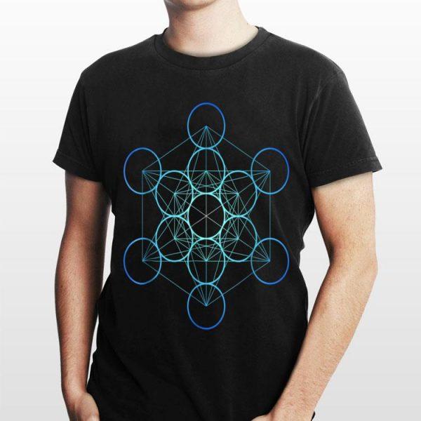 Indigo Metatron's Cube Sacred Geometry shirt