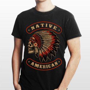 Native American Indians Chief Skull War Bonnet Feather Hat shirt