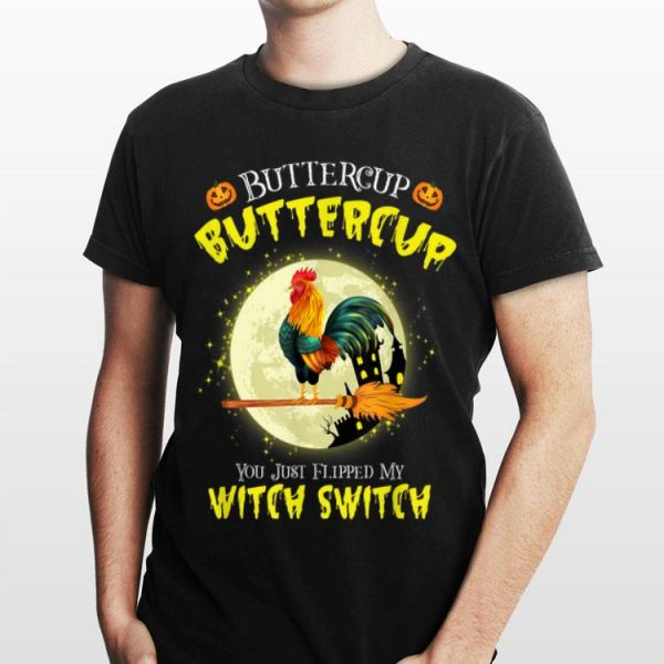 Roll over image to zoom in DTR Halloween Gift T-shirt Buckle Up Buttercup You Just Flipped My Witch Switch Chicken shirt