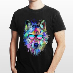 Splash Art Wolf Sunglass shirt
