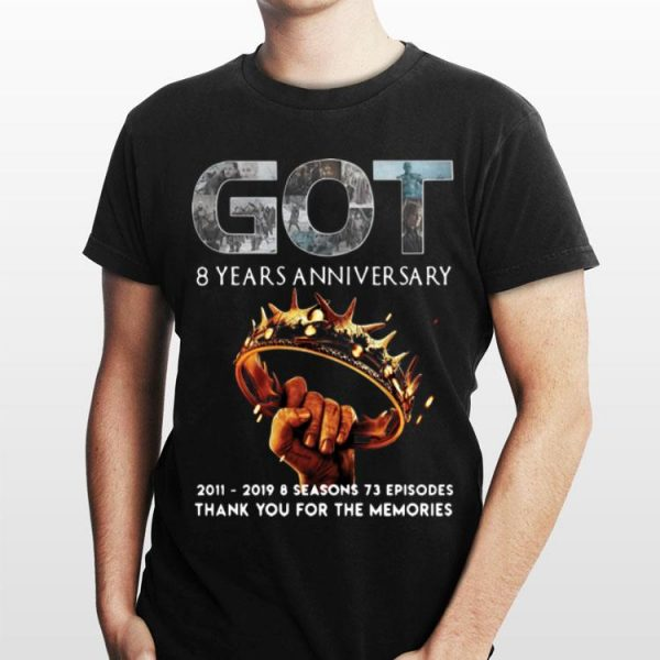 8 Years Anniversary Thank You For The Memories Game Of Thrones shirt