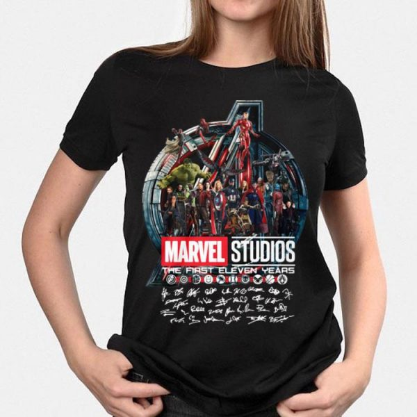 The First Eleven Years All Characters Signatures Avengers Marvel Studios shirt