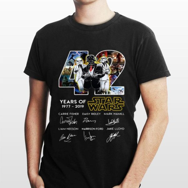 42 Years Of Star Wars Death Star Darth Vader Stormtrooper Signatures shirt