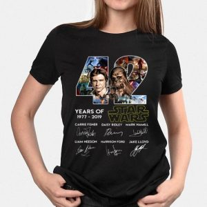 42 years of Star Wars Han Solo And Chewbacca signatures shirt