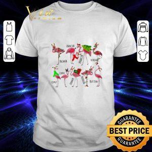 Original Christmas flamingos dancer dasher prancer vixen comet cupid shirt