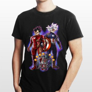 Son Goku And Vegeta Dragon Ball Super Marvel Captain Iron Man shirt