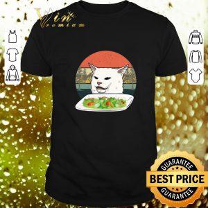 Top White Cat at dinner vintage shirt
