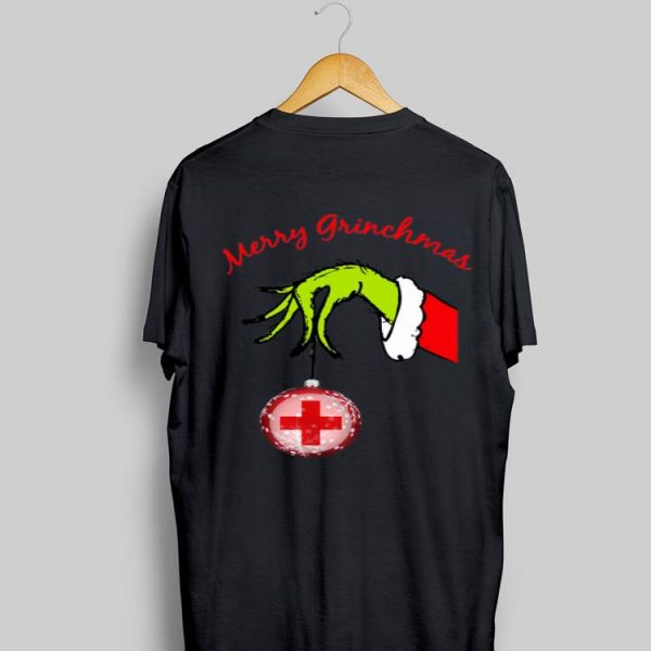 Grinch hand holding Hospital Merry christmas sweater