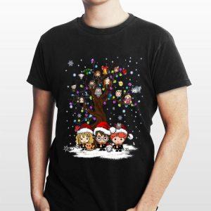 Harry Potter Characters Chibi On Tree Light Christmas shirt