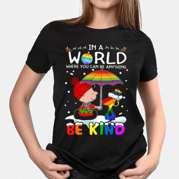LGBT Charlie Brown And Snoopy In A World Where You Can Be Anything Be Kind Christmas sweater