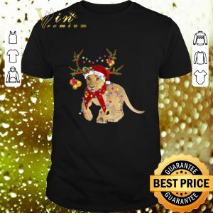 Top Santa Lion Reindeer Christmas Light shirt
