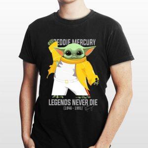 Baby Yoda Freddie Mercury Legends Never Die 1946-1991 Signature shirt