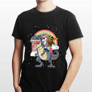 Baby Yoda and Unicorn riding Dinosaur T-Rex shirt