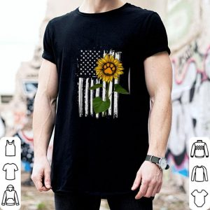 Hot america flag sunflower paw dog shirt