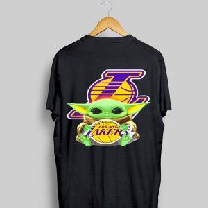 Star Wars Baby Yoda hug Los Angeles Lakers logo shirt