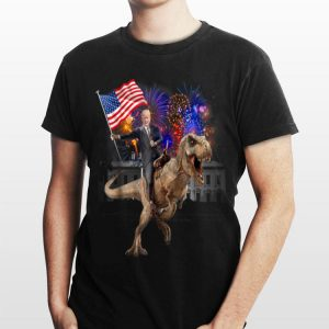 Trump Riding a Dinosaur T-rex Fireworks American Flag shirt