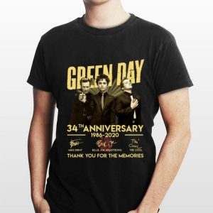 Green Day 34th anniversary 1986 2020 thank you for the memories signatures shirt