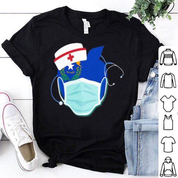 Apple Nurse Stethoscope Nevada Flag Covid-19 shirt