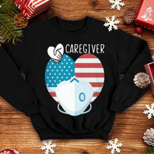 Caregiver Mask Heart American Flag Covid-19 shirt