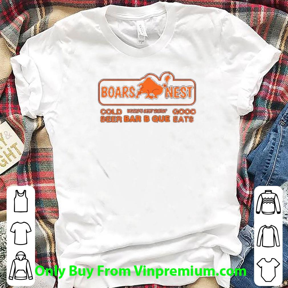 Awesome Boars Nest Cold World's Best Tasting Good Beer Bar B Que Eats shirt 1