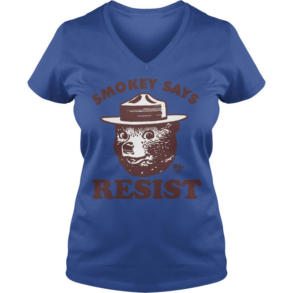 SMOKEY SAYS RESIST ladies v neck