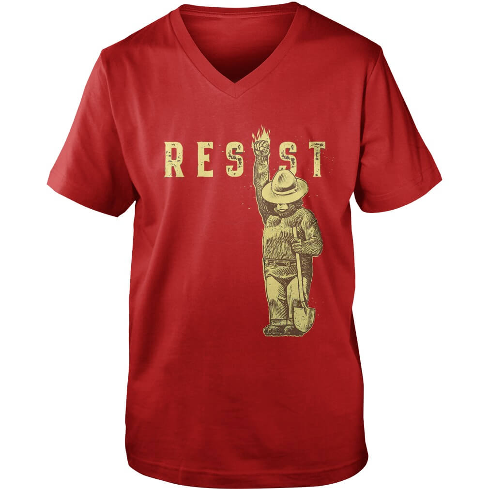 TOP Smokey Says Resist guy v-neck