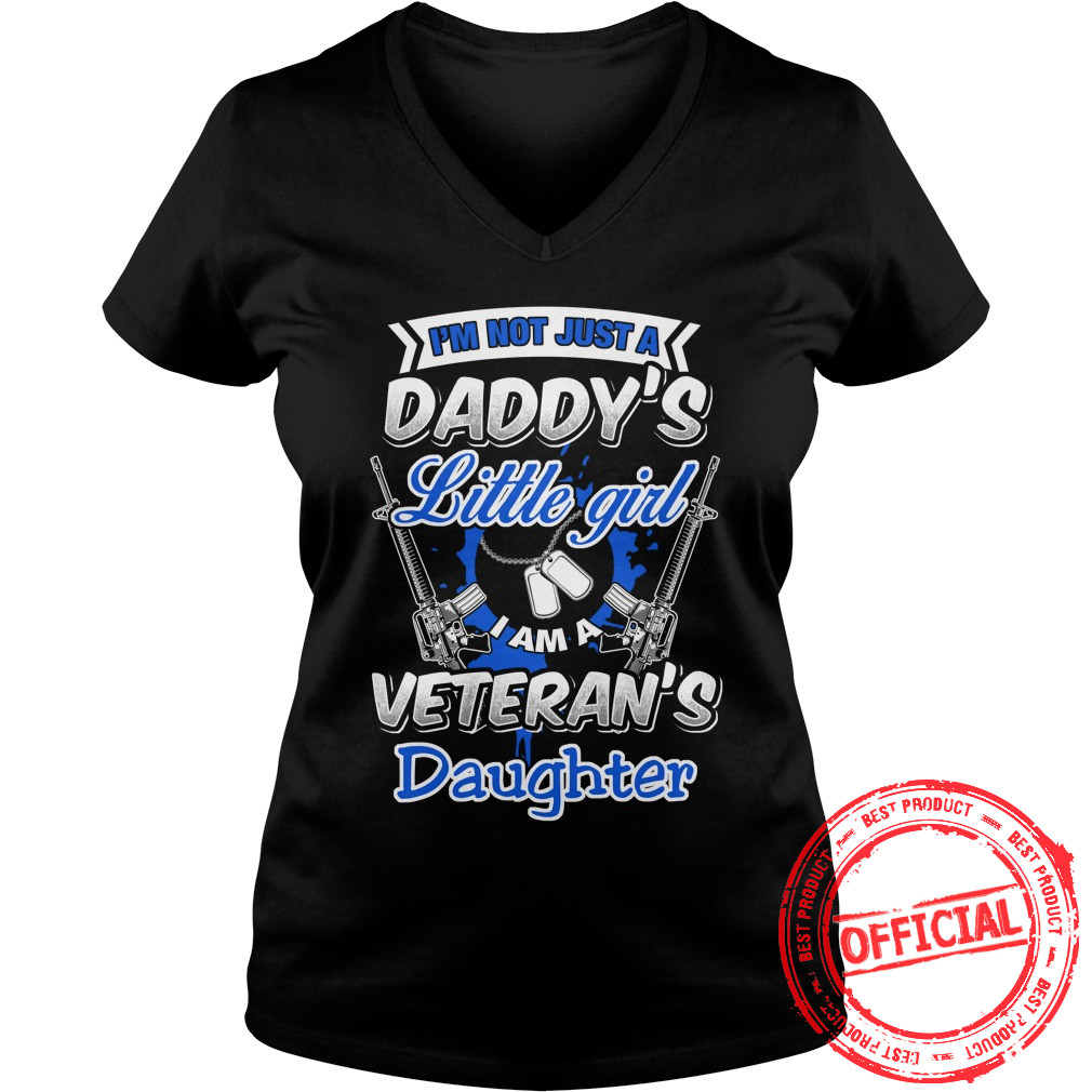 Im Not Little Girl I'm A Veterans Daughter Ladies V Neck