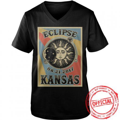 Kansas Solar Eclipse 2017 T Shirt Vneck