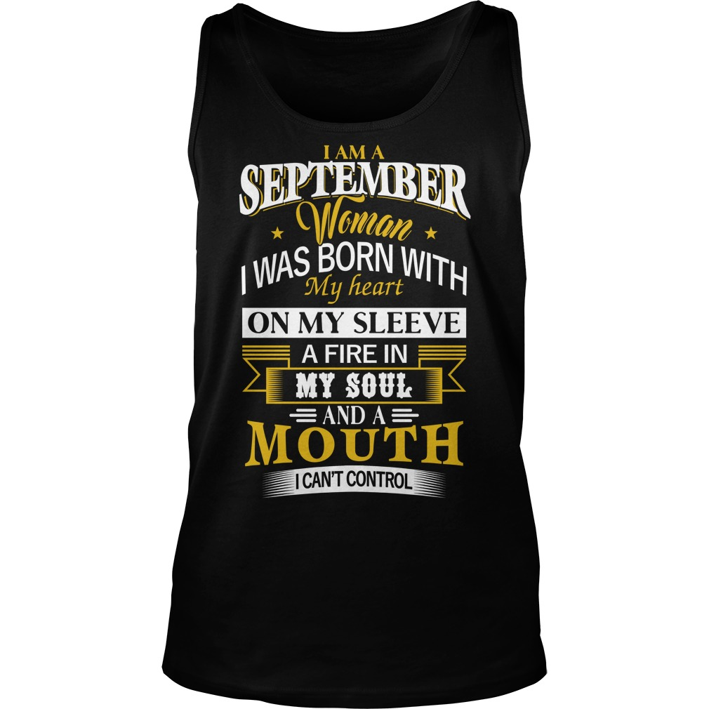 I'm A September Girl I Was Born With My Heart On My Sleeve Tank Top
