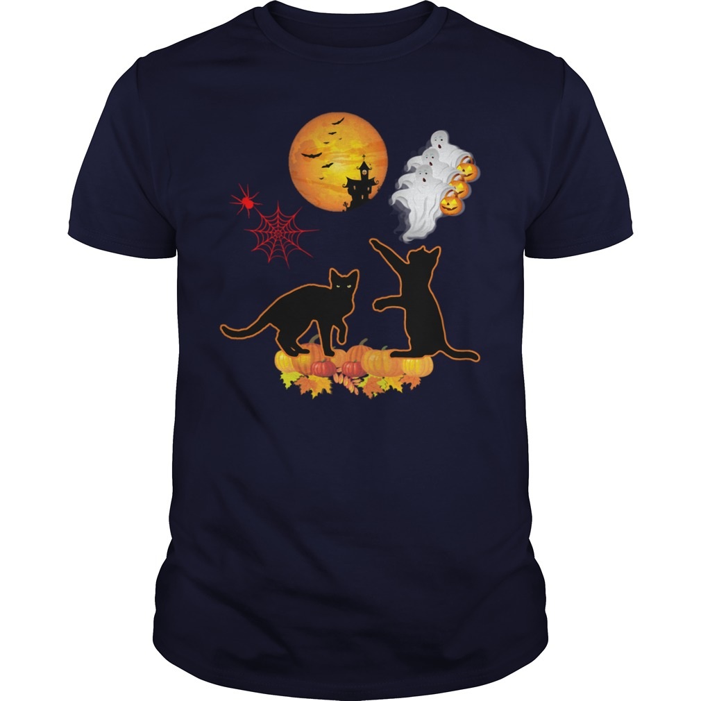 Cats Pumpkin Halloween Guys Tee