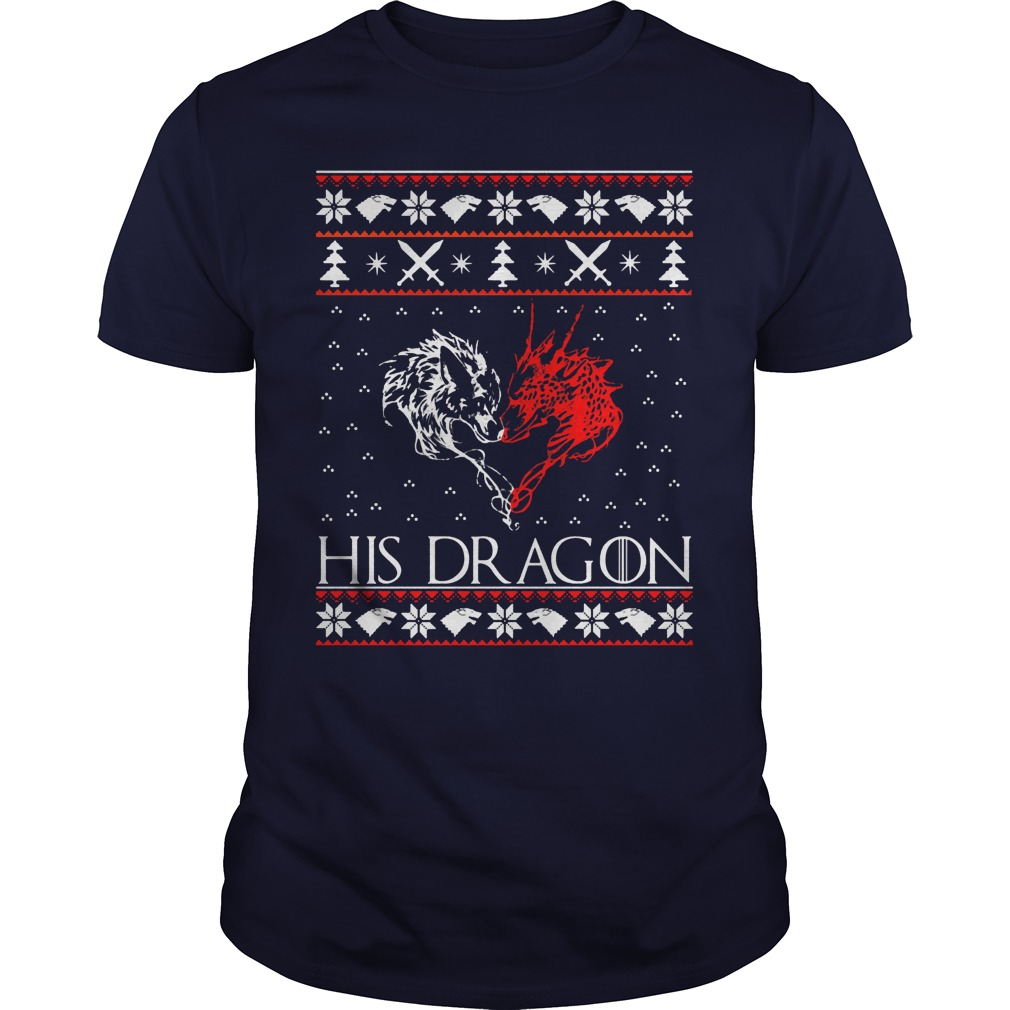 Jon Snow His Dragon Ugly Christmas Sweater Guys Tee