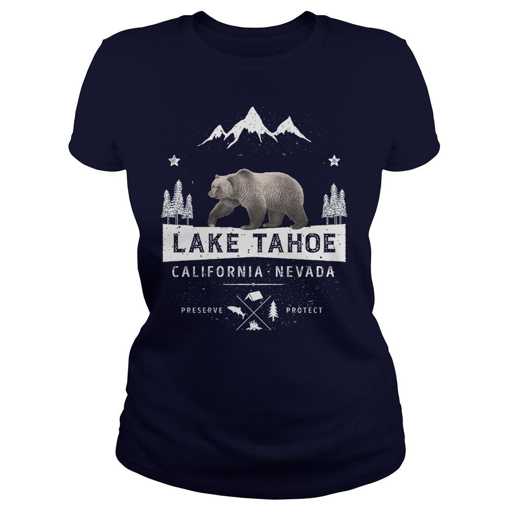 Lake Tahoe California Nevada Bear Ladies Tee
