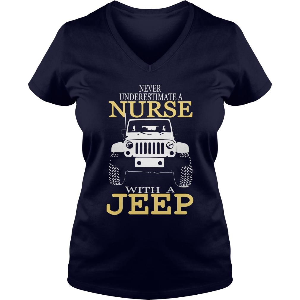 Never Underestimate Nurse Jeep V Neck