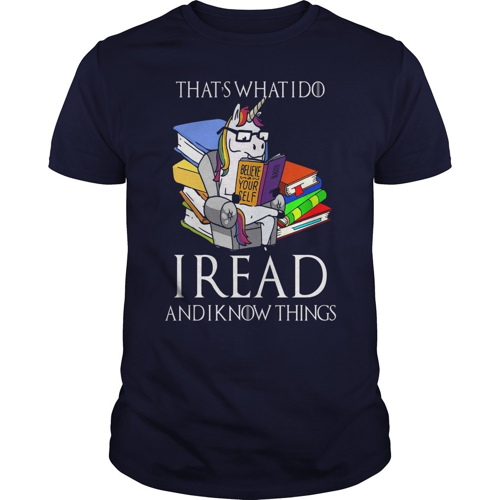 Read Know Cute Unicorn Book Guy Shirt