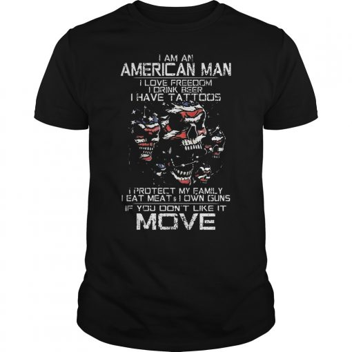 American Old Man Im Not Afraid Patriotic Love Wife Shoot Guns Tattoos Guys Tee