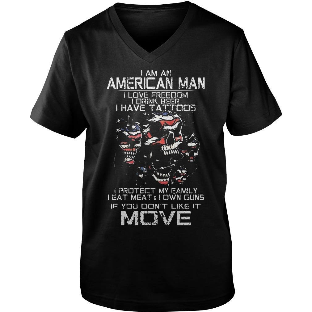American Old Man Im Not Afraid Patriotic Love Wife Shoot Guns Tattoos Guys V Neck