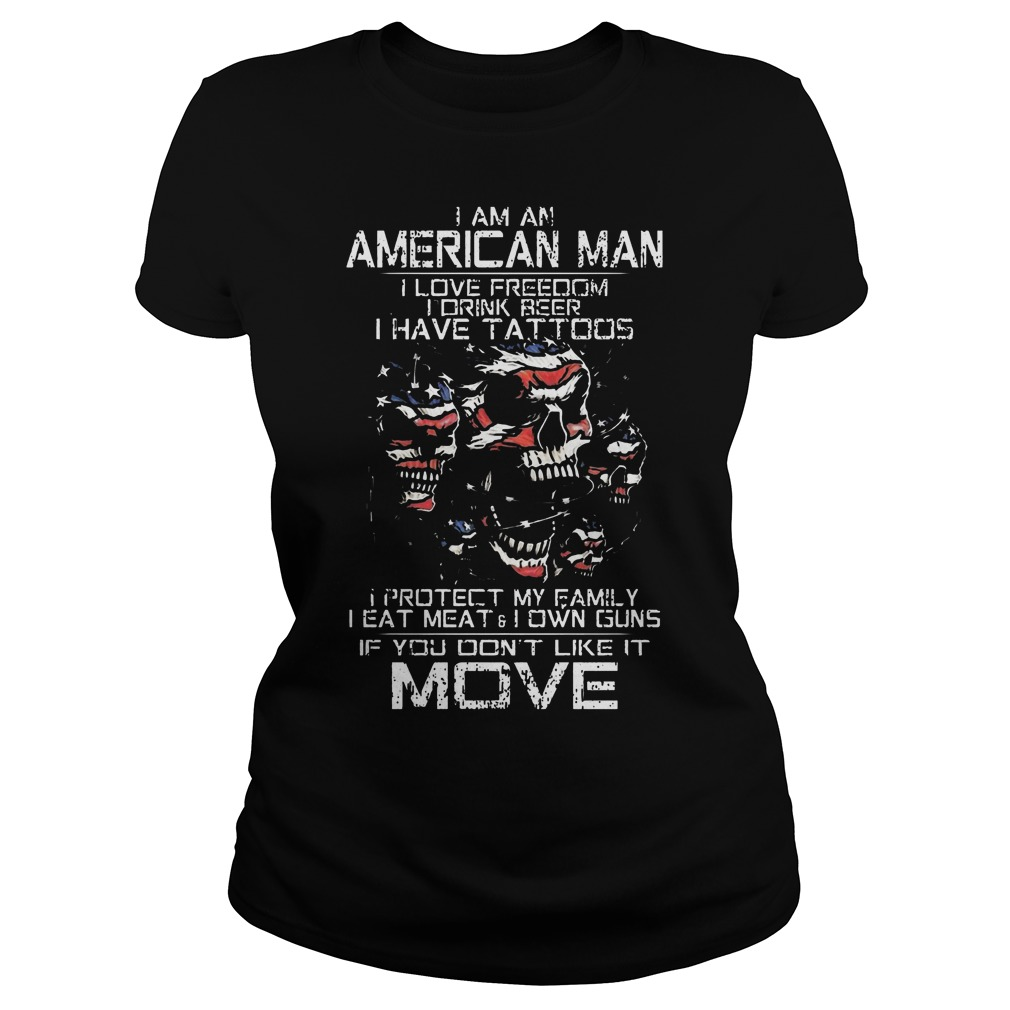 American Old Man Im Not Afraid Patriotic Love Wife Shoot Guns Tattoos Ladies Tee