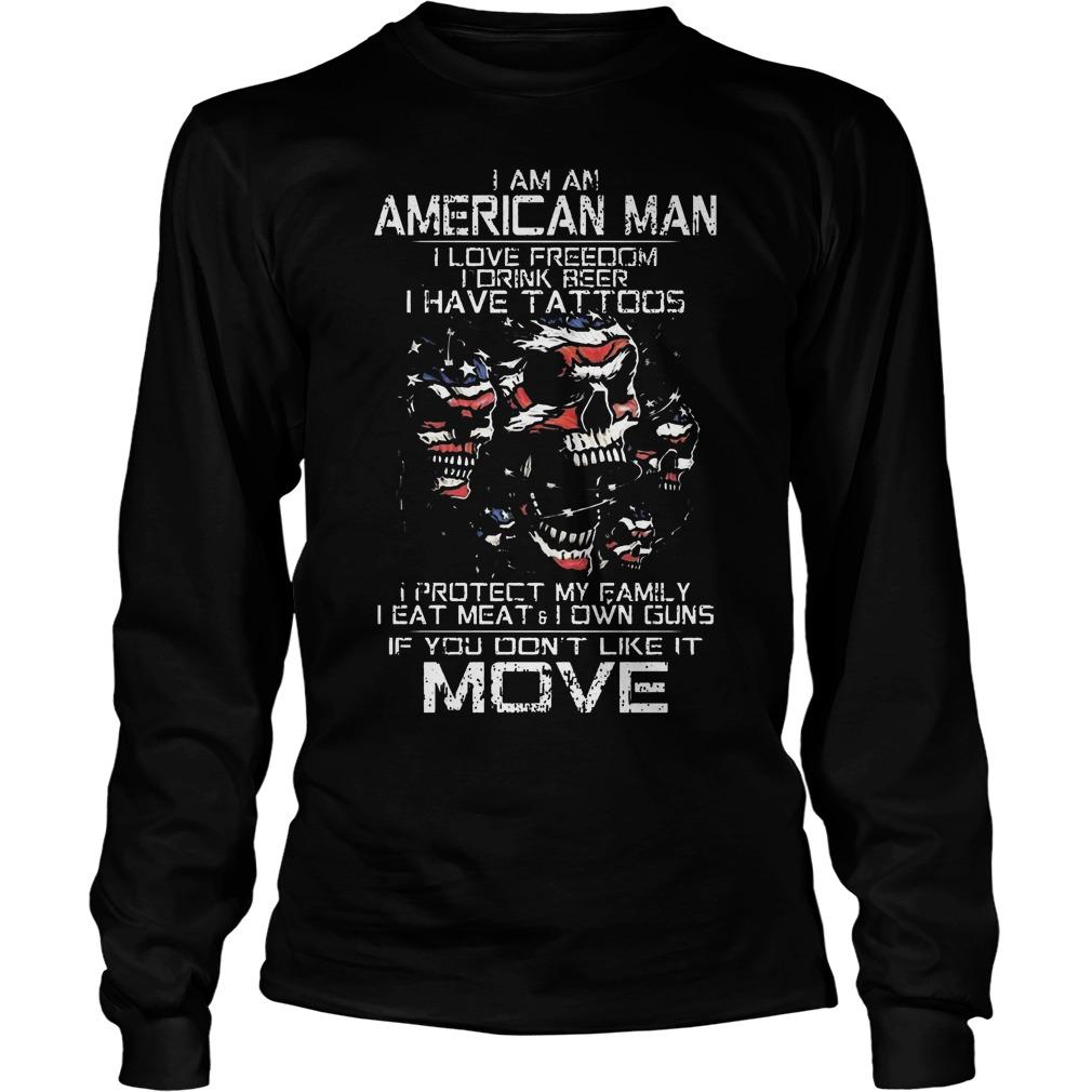 American Old Man Im Not Afraid Patriotic Love Wife Shoot Guns Tattoos Longsleeve
