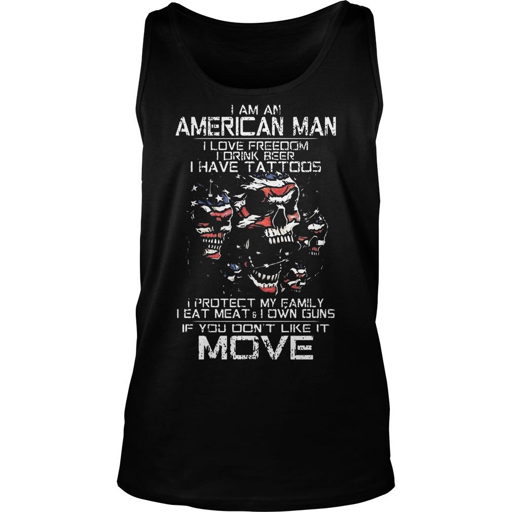 American Old Man Im Not Afraid Patriotic Love Wife Shoot Guns Tattoos Tank Top
