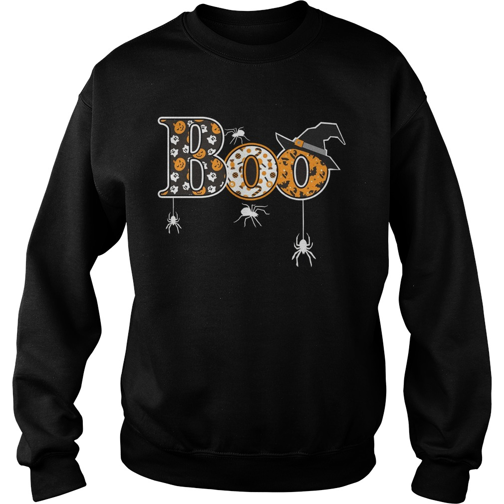 Boo Halloween T Shirt Spiders Witch Hat Sweat Shirt
