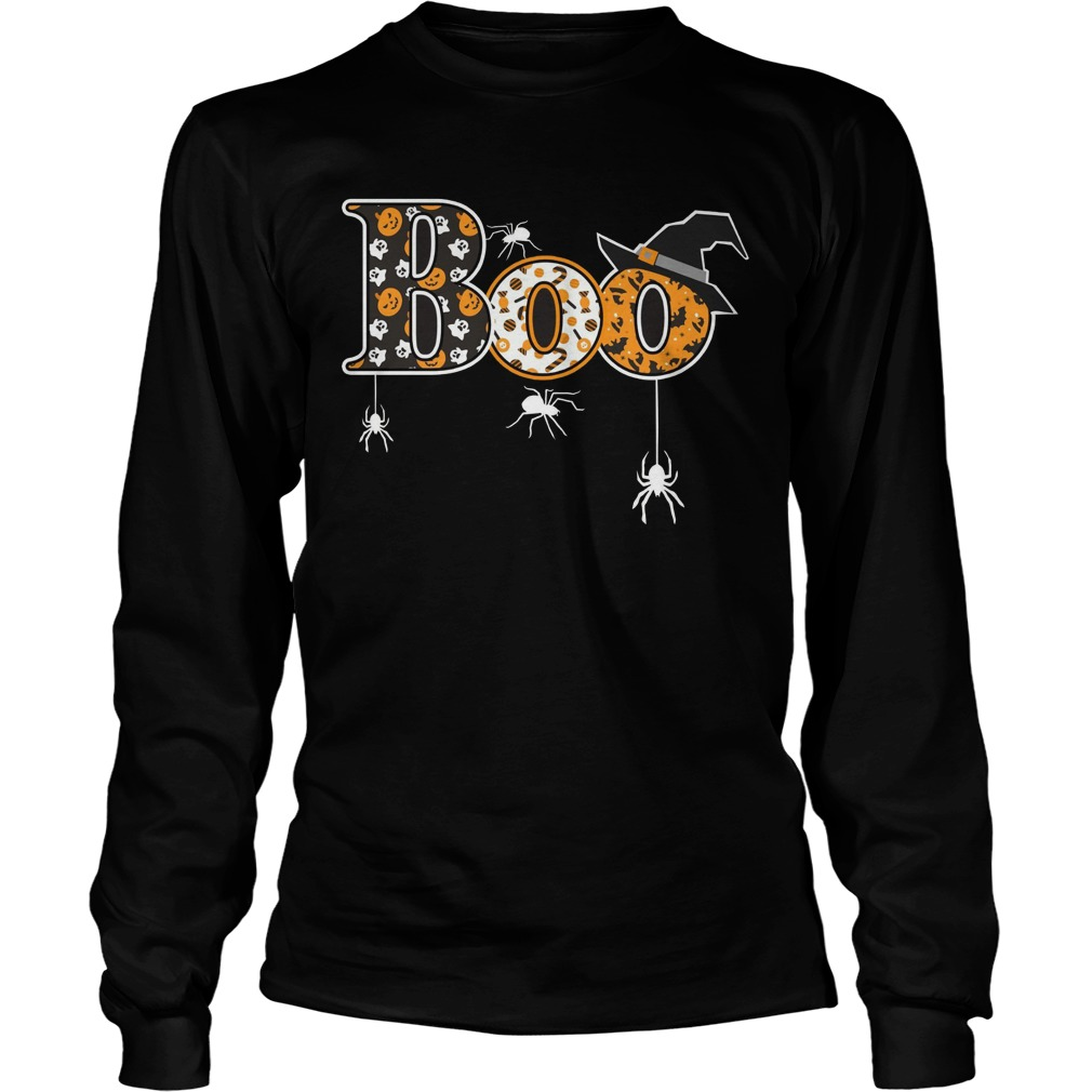 Boo Halloween T Shirt Spiders Witch Hat Unisex Longsleeve Tee