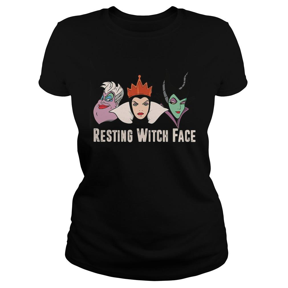Disney Witches Ursula Grimhilde Maleficent Resting Witch Face Ladies Tee