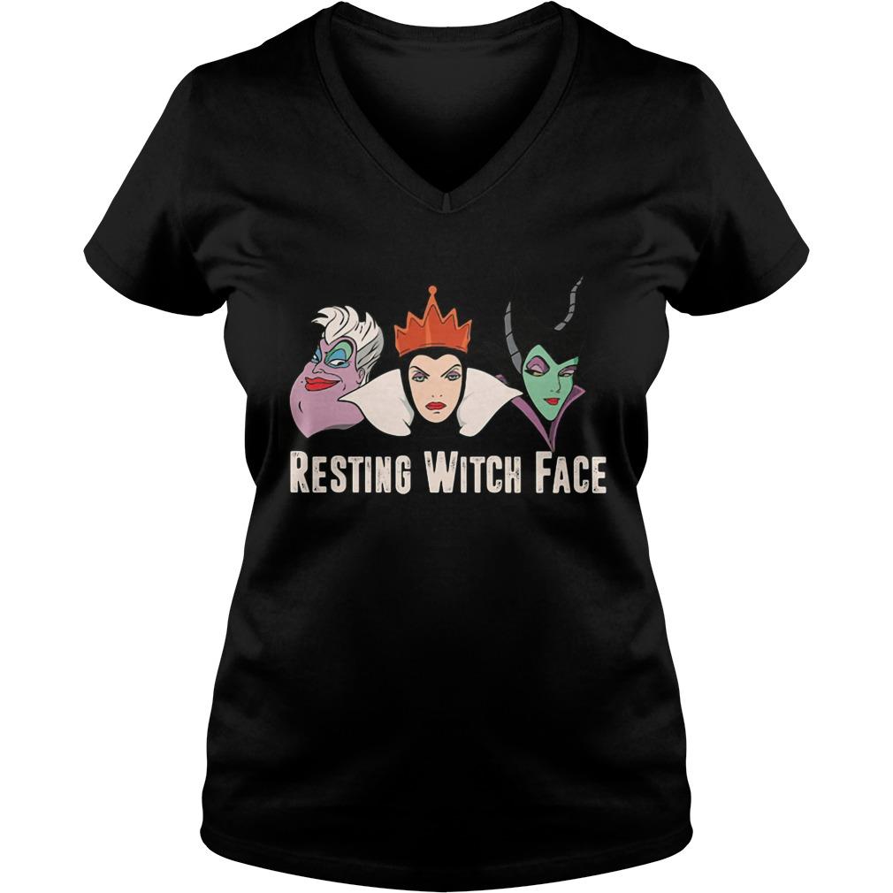 Disney Witches Ursula Grimhilde Maleficent Resting Witch Face Ladies V Neck
