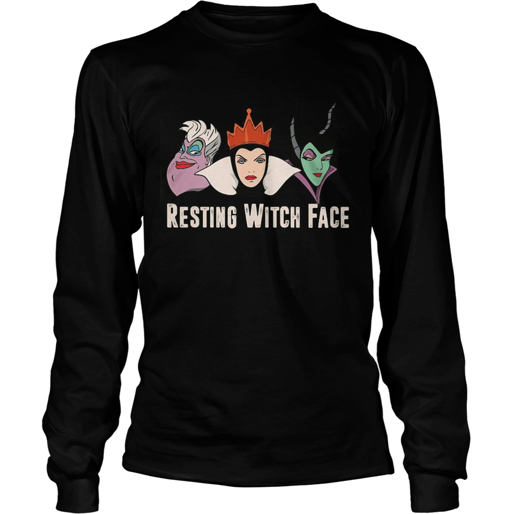 Disney Witches Ursula Grimhilde Maleficent Resting Witch Face Unisex Longsleeve Tee