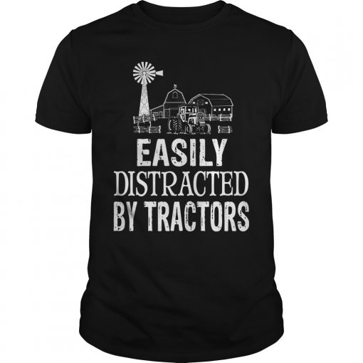Easily Distracted By Tractors Guys Tee