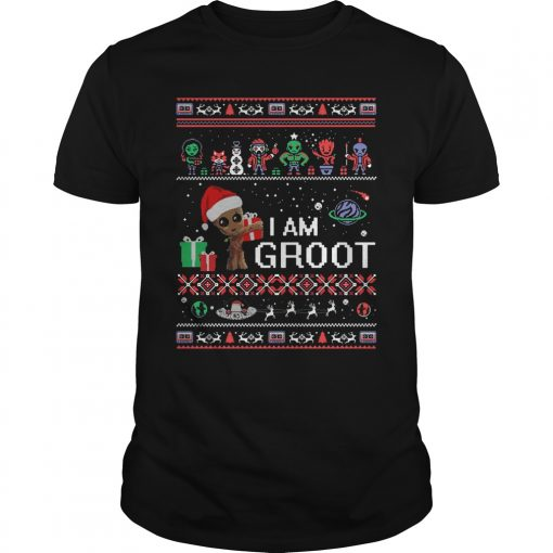 Guardians Of The Galaxy I Am Groot Ugly Christmas Guys Tee