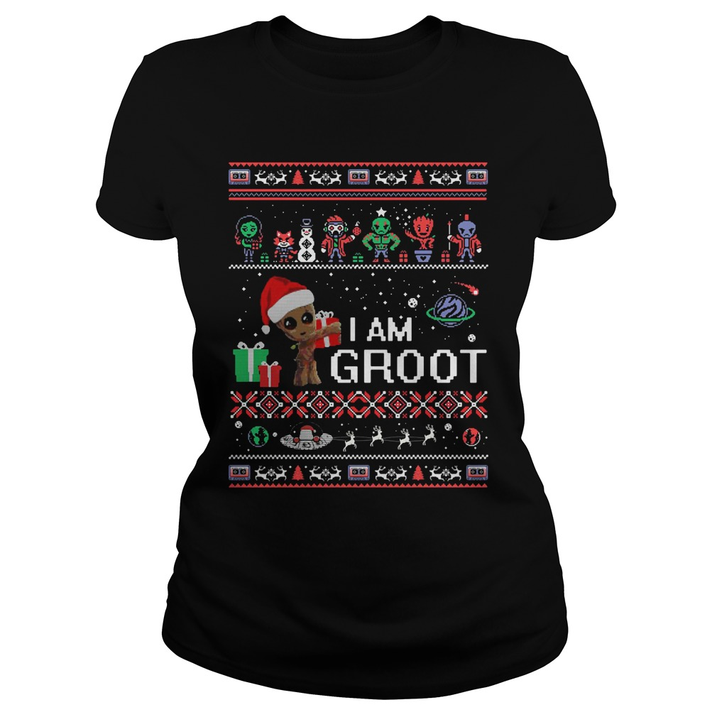 Guardians Of The Galaxy I Am Groot Ugly Christmas Ladies Tee